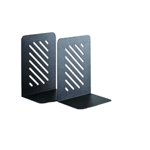 Heavy Duty 8-Inch Black Slotted metal Bookends