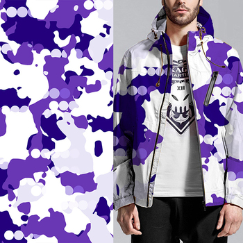 Design fashion men purple and white pattern air layer digital printed jacket fabric