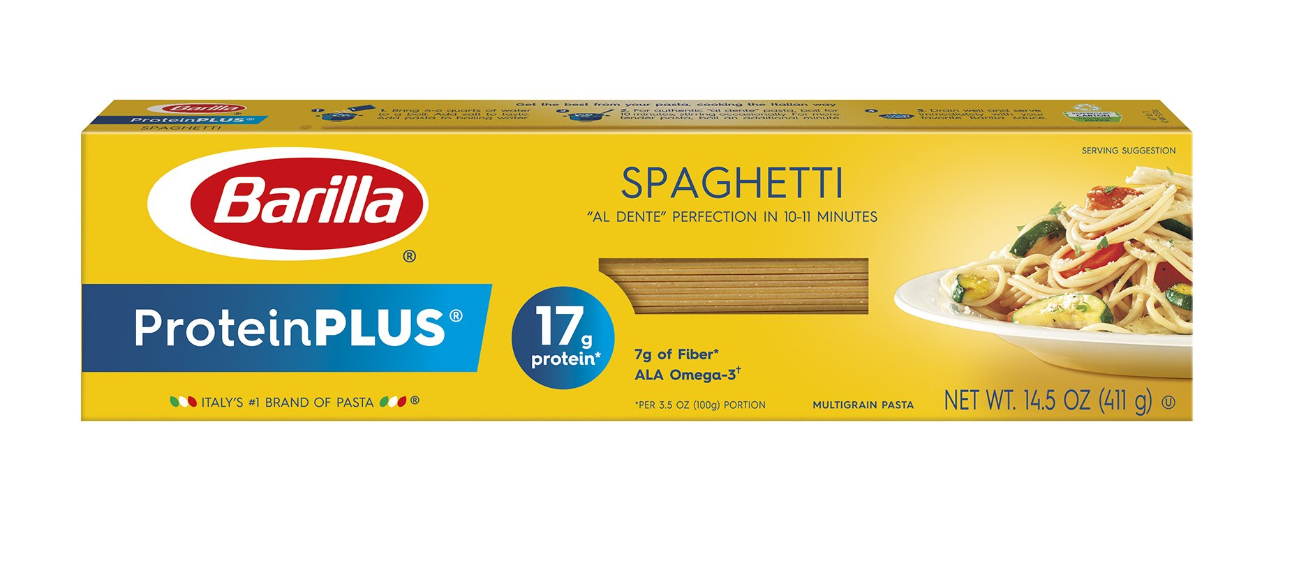 Barilla ProteinPLUS Spaghetti Pasta, High Protein Pasta, 14.5 Ounce (Pack of 12)