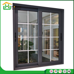 Australia standard double glass thermal break aluminium sliding window with grids