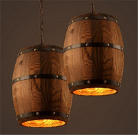 American Country E27 Wood Wine Barrel Hanging Fixture Ceiling Pendant Lamp Lighting Bar Cafe Lights