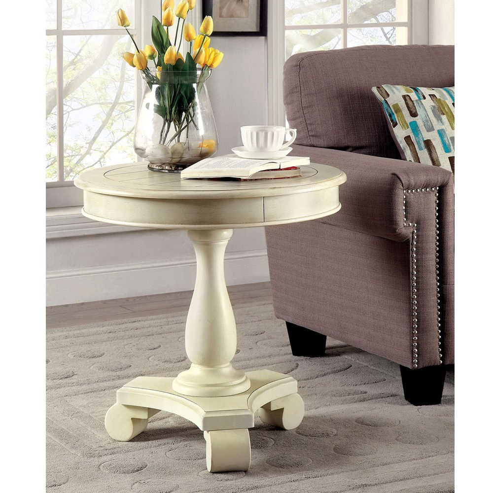 Get Quotations · 1PerfectChoice Kalea Transtional Pedestal Round Accent  Table Solid Wood Antique White