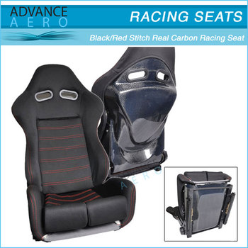 RECLINABLE BLACK CLOTH CARBON BACK RACING SEATS PAIR + SLIDER FOR MAZDA