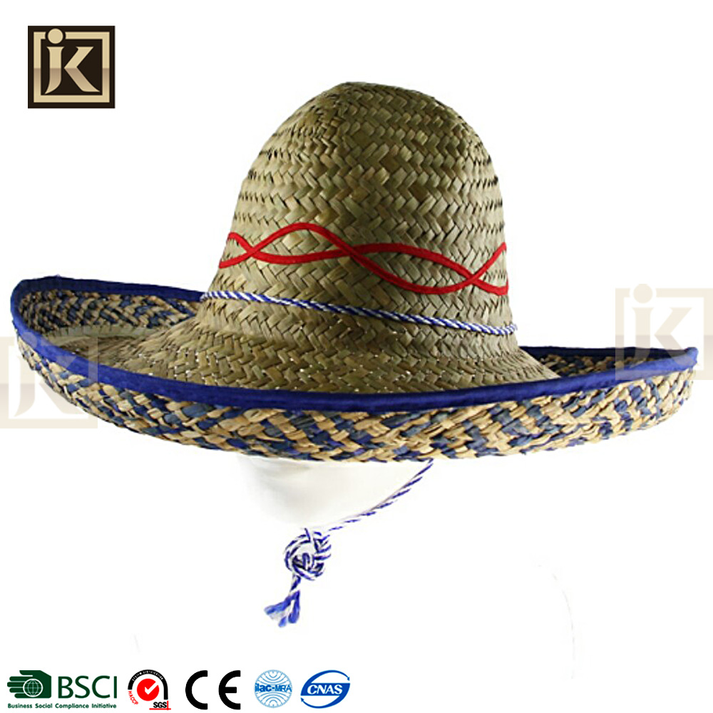 JAKIJAYI cheap price summer straw hat roll brim promotion mexican hat sombrero
