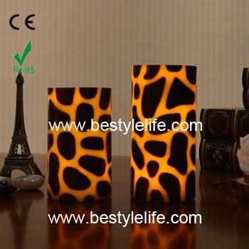 Leopard Print Design Real Wax Pillar Led Candle