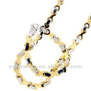Stainless Steel Gold Tone Wishbone Men Bracelet Chain Set bracelet