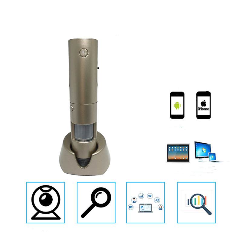 3MP WIFI video microscope for cell phone pad laptop intelligent detector 4 segmentations contrast 200x