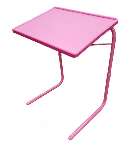 Eight24hours Portable U0026 Foldable Comfortable Adjustable TV Tray Table   Pink