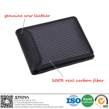 Free shipping! Real carbon fiber wallet with TWO-FOLD style genuine leather for Anti-theft brush