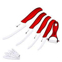 Fashion Design Ceramic Knife Set Ceramic Blade Multicolor Handle 3 Inch Fruit Knife And Utility Knife 4pcs Set