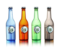 hot new creative design beer bottle shape water desk clock for promotional gifts
