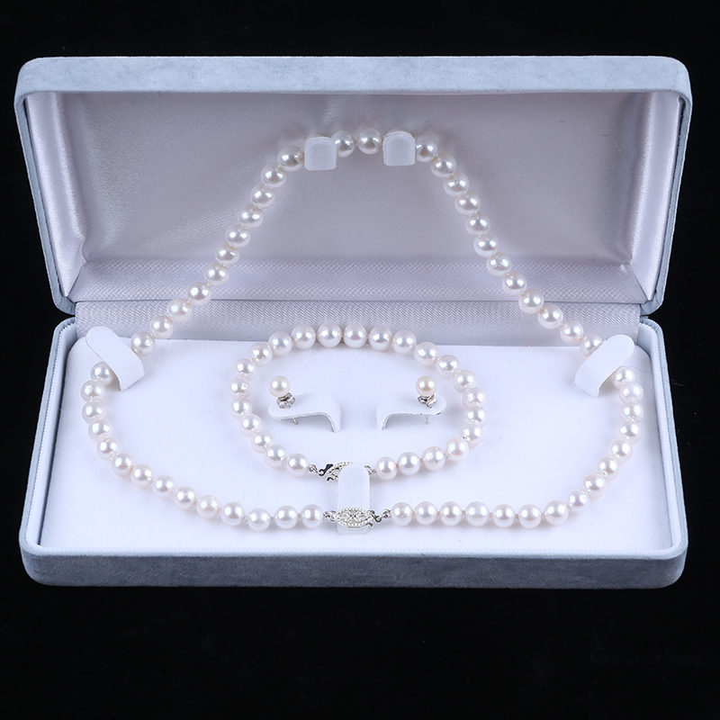 925 Sterling silver fittings freshwater pearl fancy women jewelry set