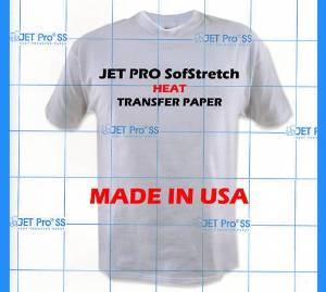 "INKJET TRANSFER FOR WHITE FABRIC: IRON-ON ""JET PRO SOFT STRETCH"" (11""x17"") 25Pk :)"