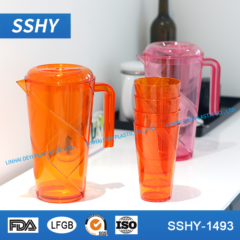 restaurant cool jug customized high quality transparent ps plastic pitcher set