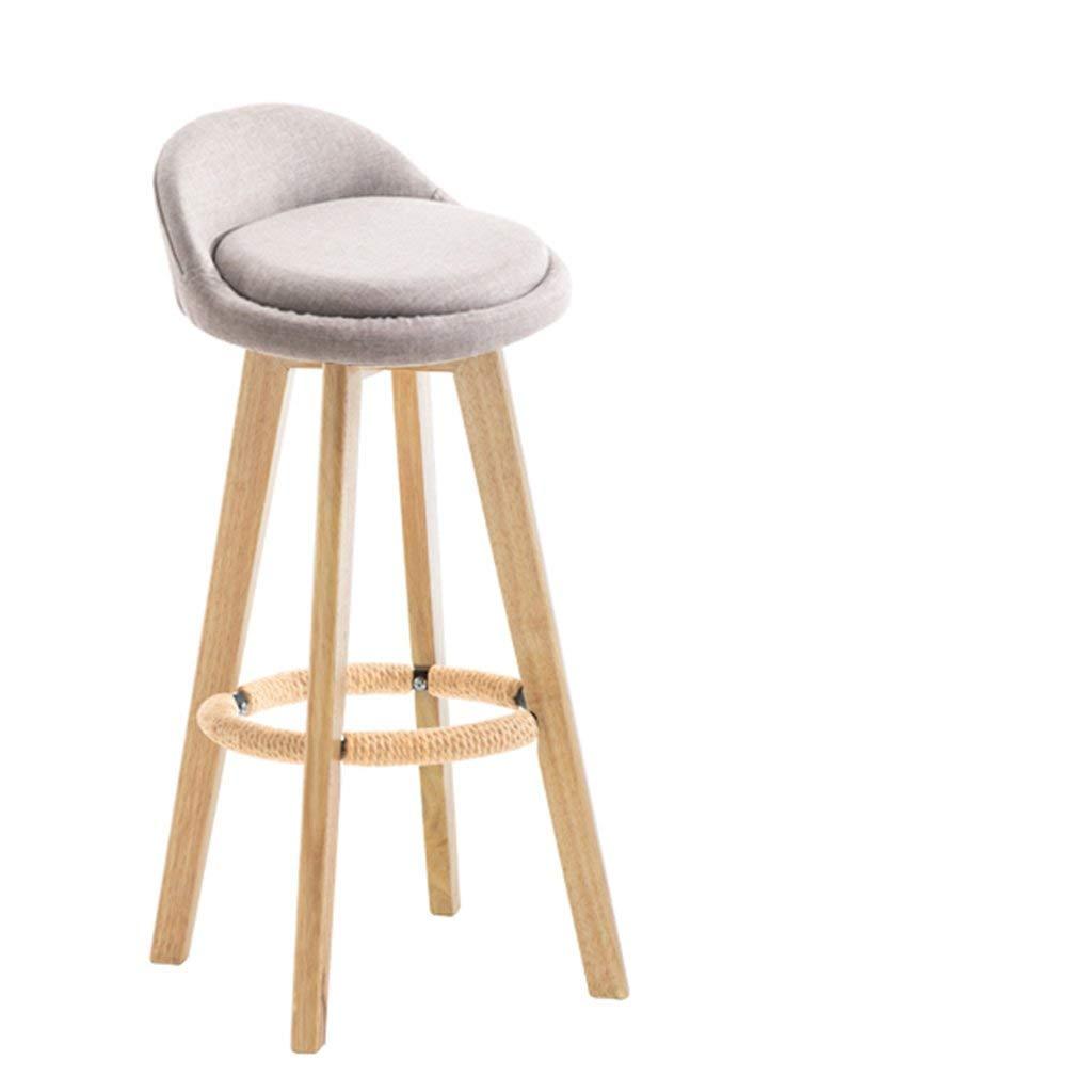 Furniture Fashion Creative Bar Stool Lifting Chair Swivel Bar Chair Fashion Linen Solid Wood High Stool. Bar Chairs