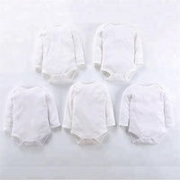 Solid White Infant Rompers Boutique Cotton Long Sleeves Fall Baby Bodysuit Clothes