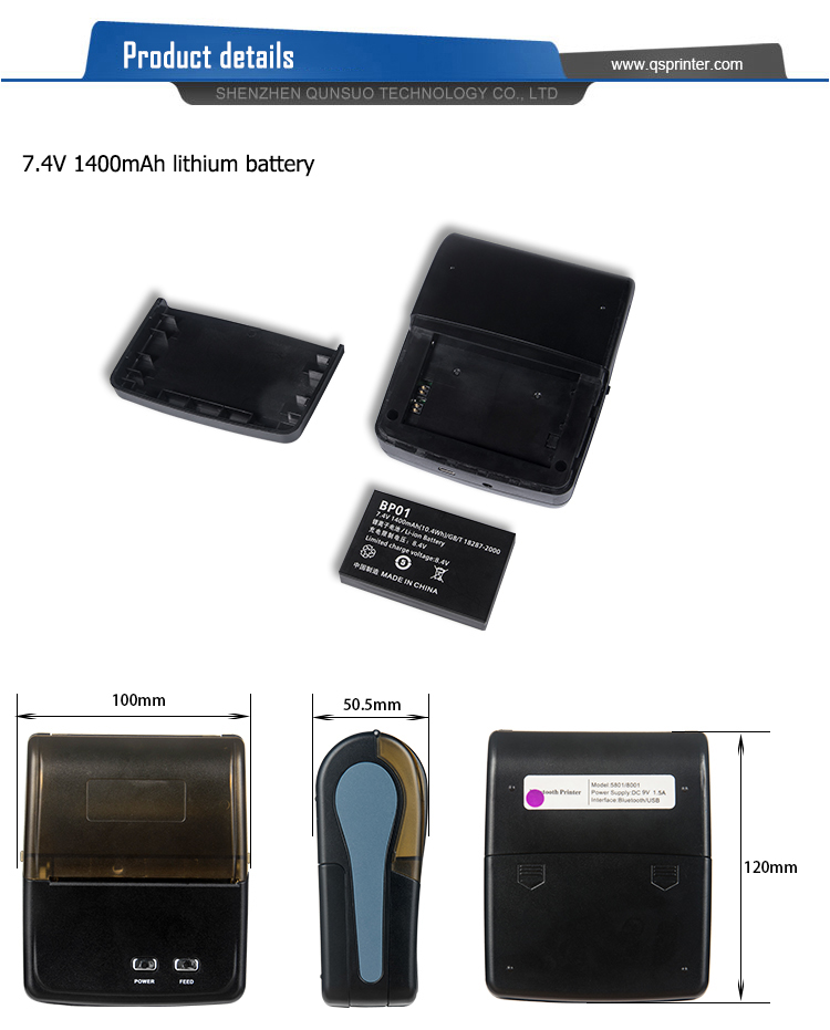 Original New 58Mm Nhiệt Nhỏ Bluetooth Điện Thoại Di Động Đa Giao Diện Máy In Cho Android Ios