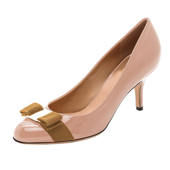 ebb14ba6102 Girls Pink Nude Cute Pumps Women Patent Leather Middle low Heel Dress Shoes