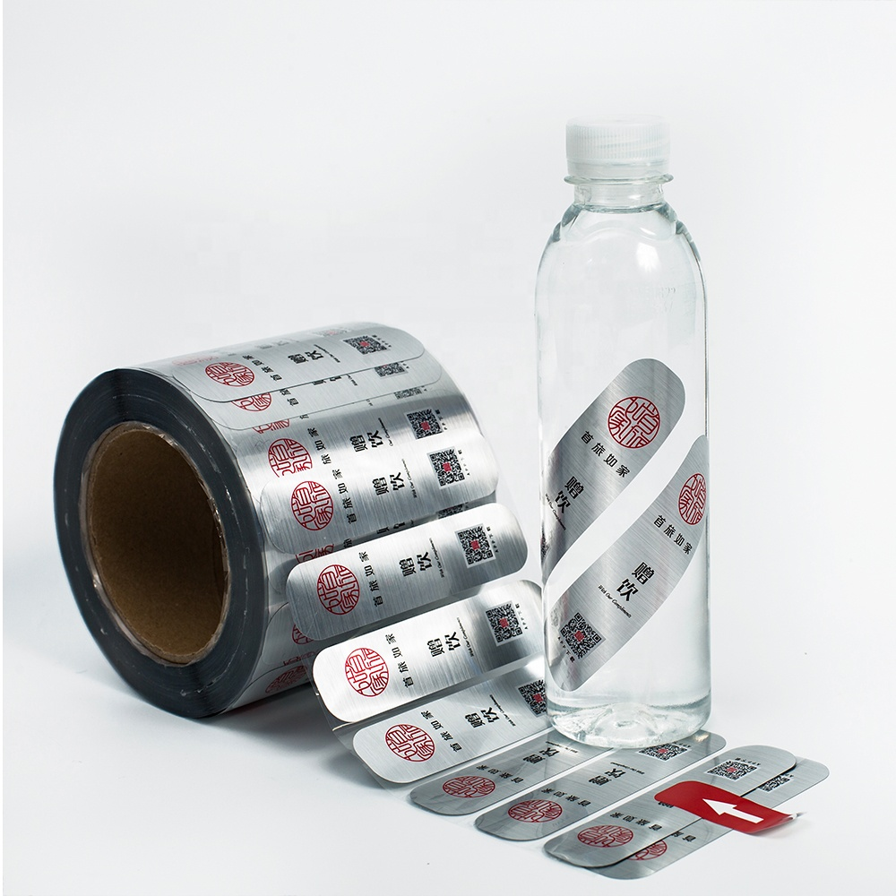 Eco friendly metallic foil water resistant labels custom logo stickers for water bottles