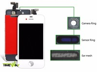 with anti dust mesh for iphone 4s LCD with touch digitizer with front glass with Frame for iphone lcd