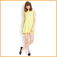 2014 vintage-inspired yellow lace dress D0429