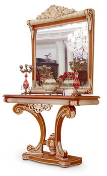 Nouveau Italian Luxurious Solid Wood Console Table And Mirror With
