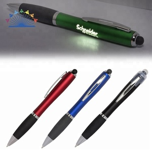 Led Light Gift Ball Point Pen Plastic Stylus Promotion Ball Pen With Logo