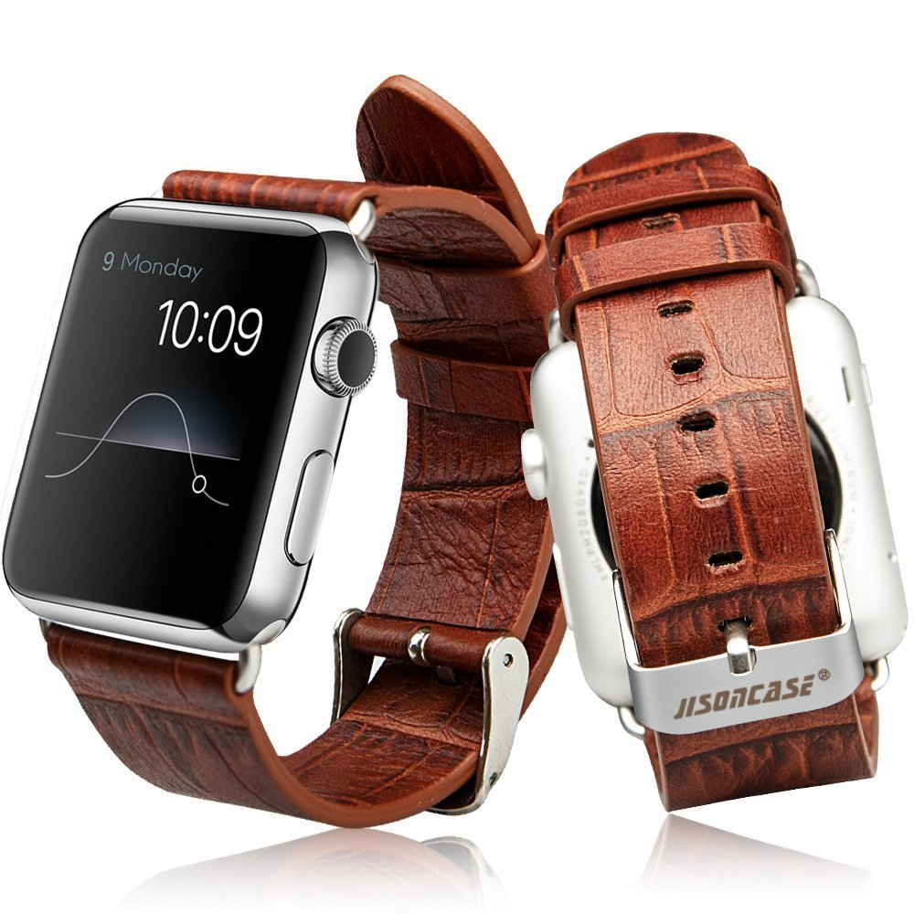 Apple Watch Band with Metal Clasp, Jisoncase® Luxury Genuine Leather Crocodile Patterns Watchband Real Cowhides Replacement Wrist Strap with Stainless Steel Classic Buckle for iWatch 38 mm – Brown