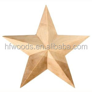 Mass production hand carved wood white oak star onlays with solid wood mould