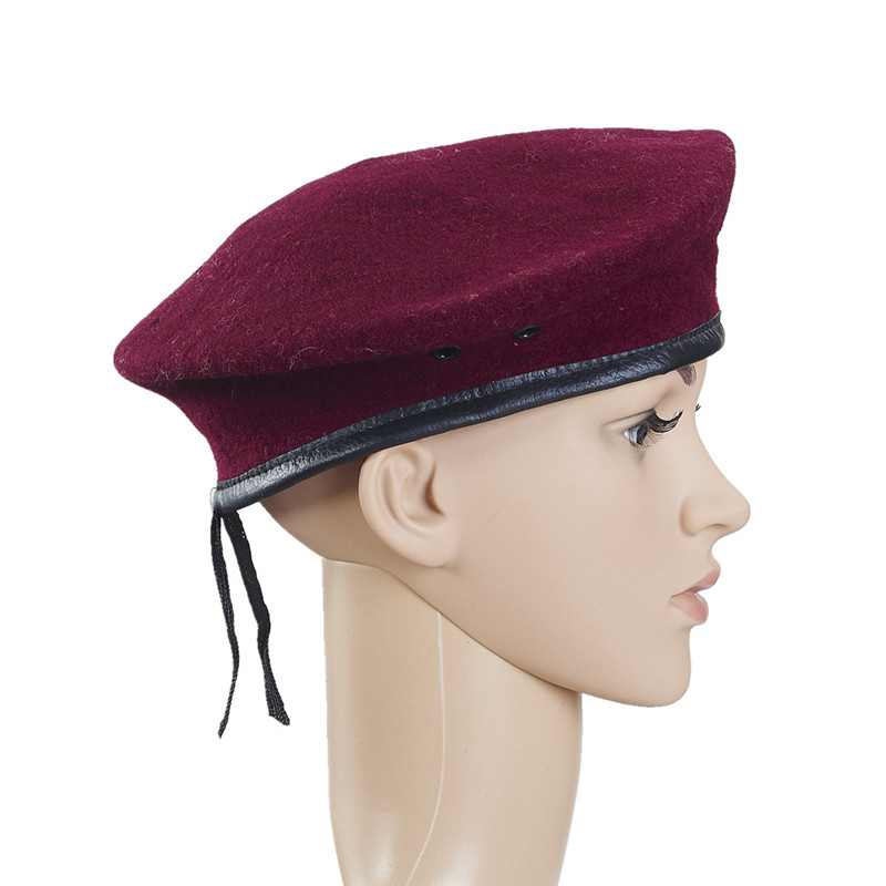 Leather bags, embroidered wool military beret