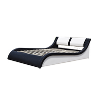 Italian design curved shape storage white leather bed 2017 new style