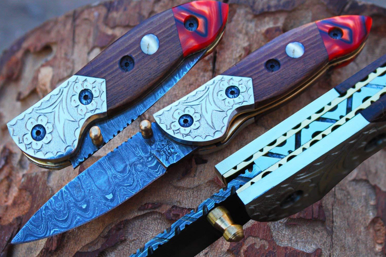 "Damascus 3.0"" Blade Custom Folding knife w/Steel Engraved Bolsters, Clip, File-Work,Liner Lock, Rose Woos, Kirinite & Sheath cover UDK-A-D-F-24"