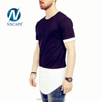 Custom extra long t shirt two tone 65% polyester 35% rayon plain color t-shirt with