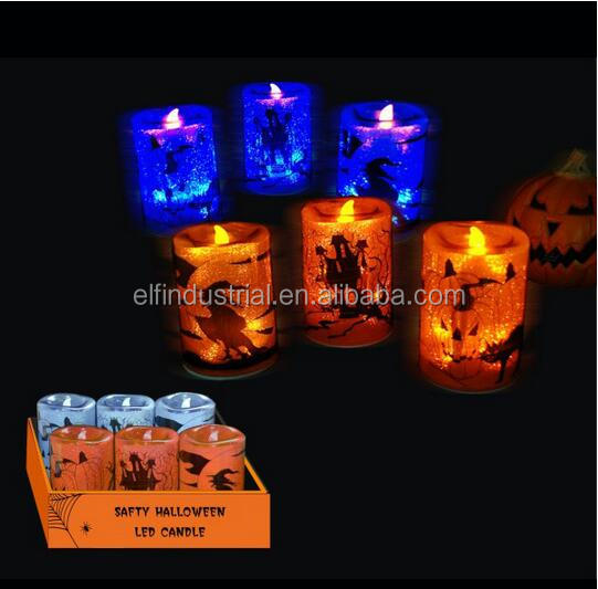 Candle supplies halloween party decorations electric pillar 6 inch plastic candle