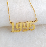 2019 Special Year Personalized Date Necklace,Yellow Gold Old English Number Necklace