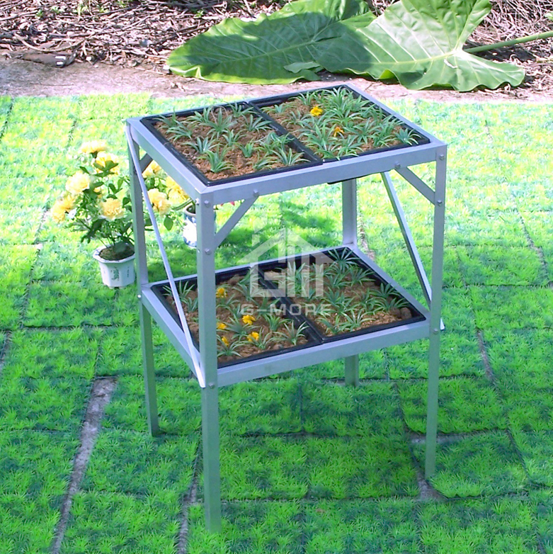 G-MORE Inexpensive Professionally Manufactured Aluminum Seed Tray Stand / 2 Tier Greenhouse Shelves