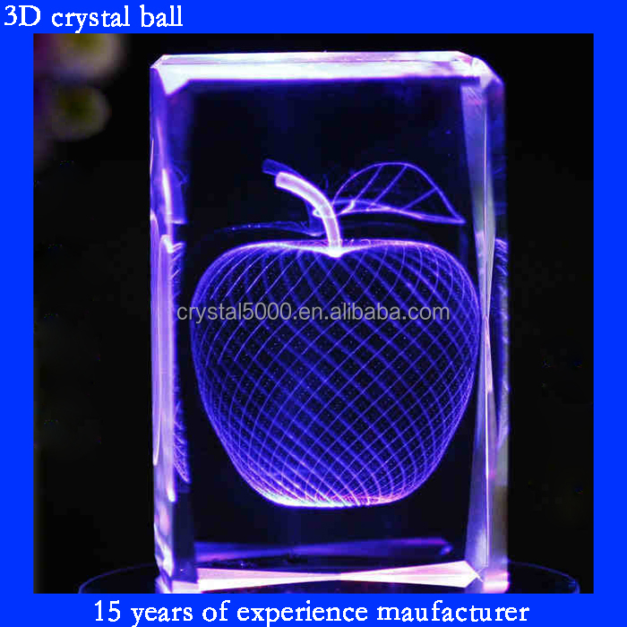 3d Laser Engraved Crystal Cube Apple Cube With Music Base