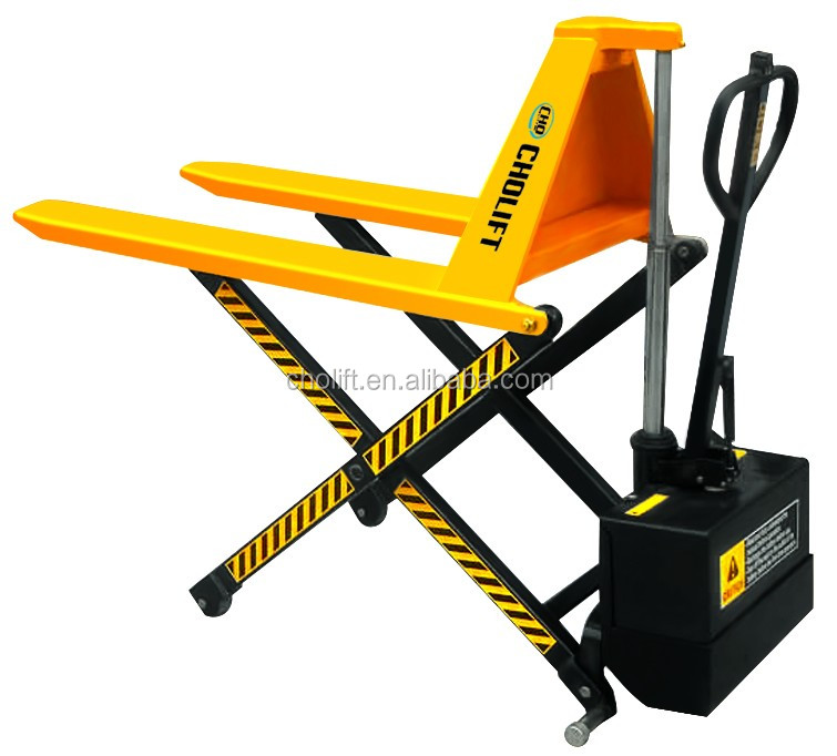 Cholift hot sale 1.0Ton Electric High Lift Scissor Truck with Automatic Height Adjustment