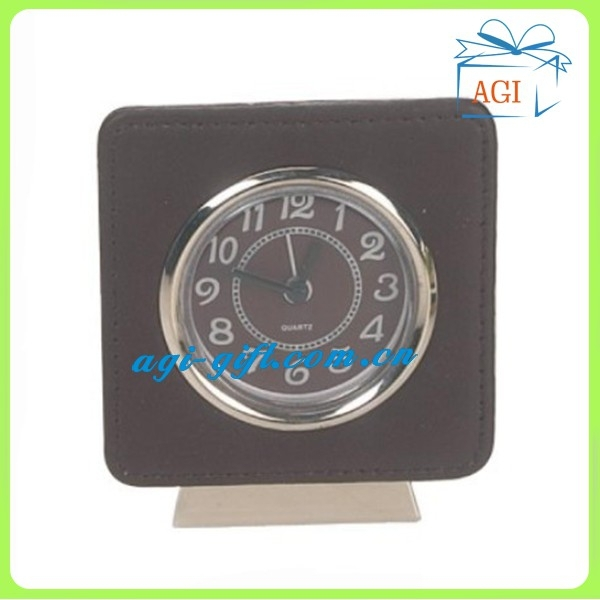 leather square quartz travel alarm clock