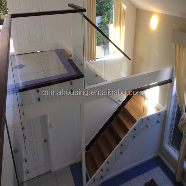 Free standing glass outdoor stair railing / glass balustrade /glass handrail