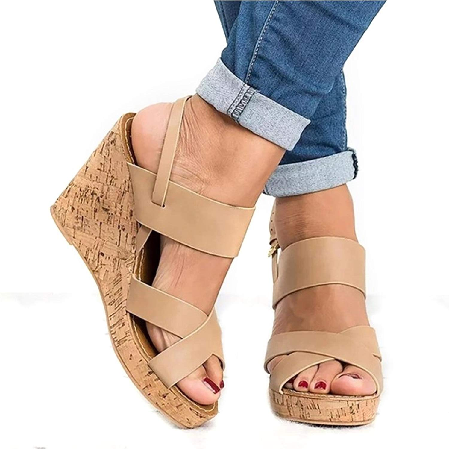 YING LAN Womens Wedge Sandals Ankle Buckle T Strap Platform Casual Summer Comfort Heeled Shoes