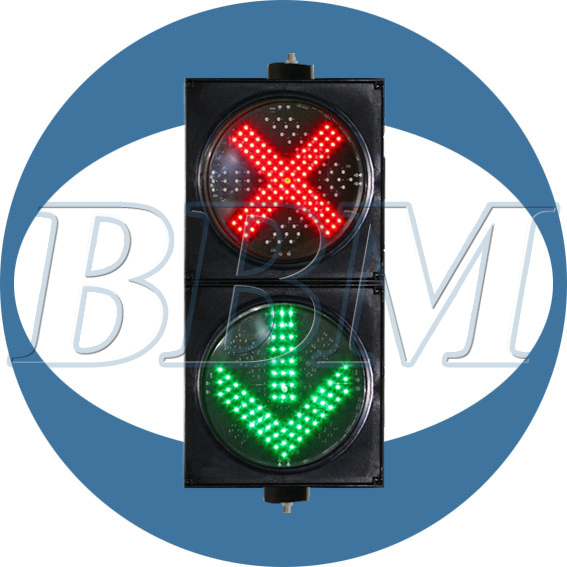 Toll station red cross green arrow traffic warning light