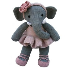Customized knitted plush and stuffed elephant toys with big ears