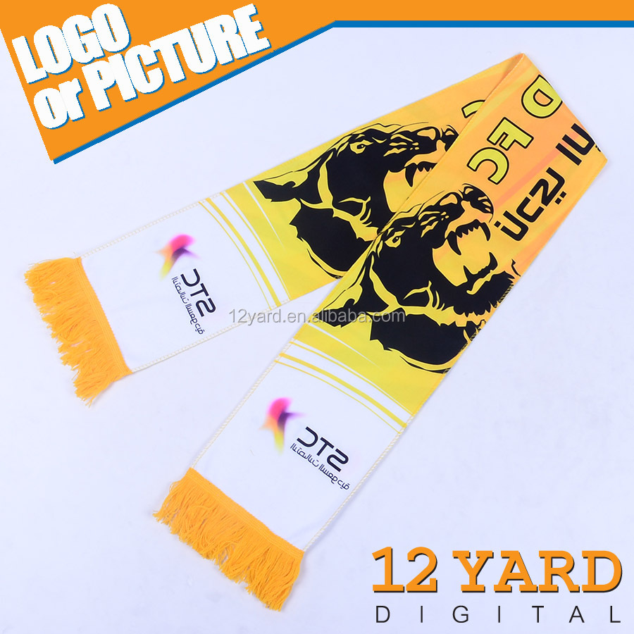 China supply 100 % Acrylic football till scarf arab elastic head covering sport fan scarf