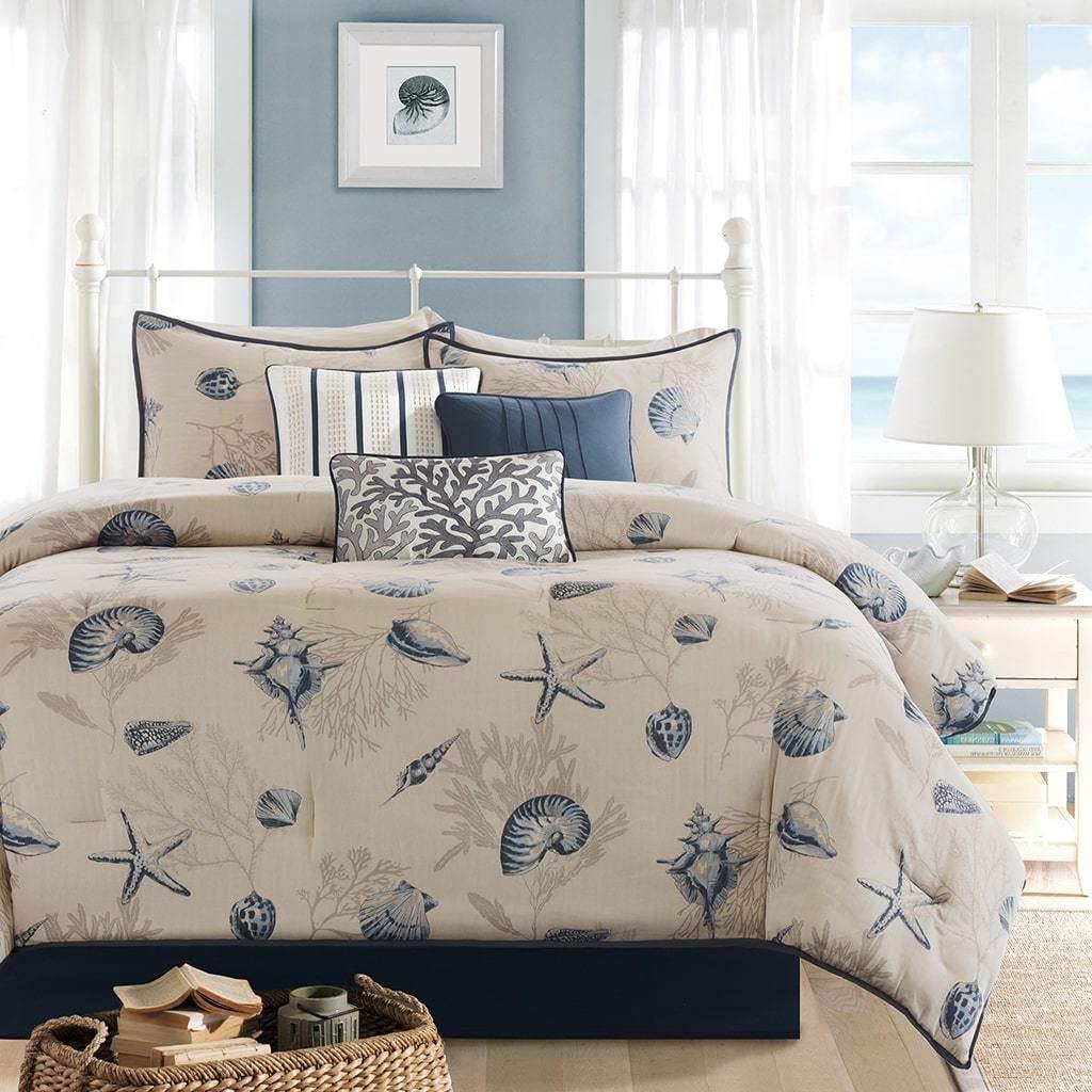 7 Piece Ivory Blue Ocean Themed King Comforter Set, Beach Pattern Bedding Sea Shells Starfish Coral Coastal Underwater Sealife Cottage Beachhouse Summer, Polyester Cotton
