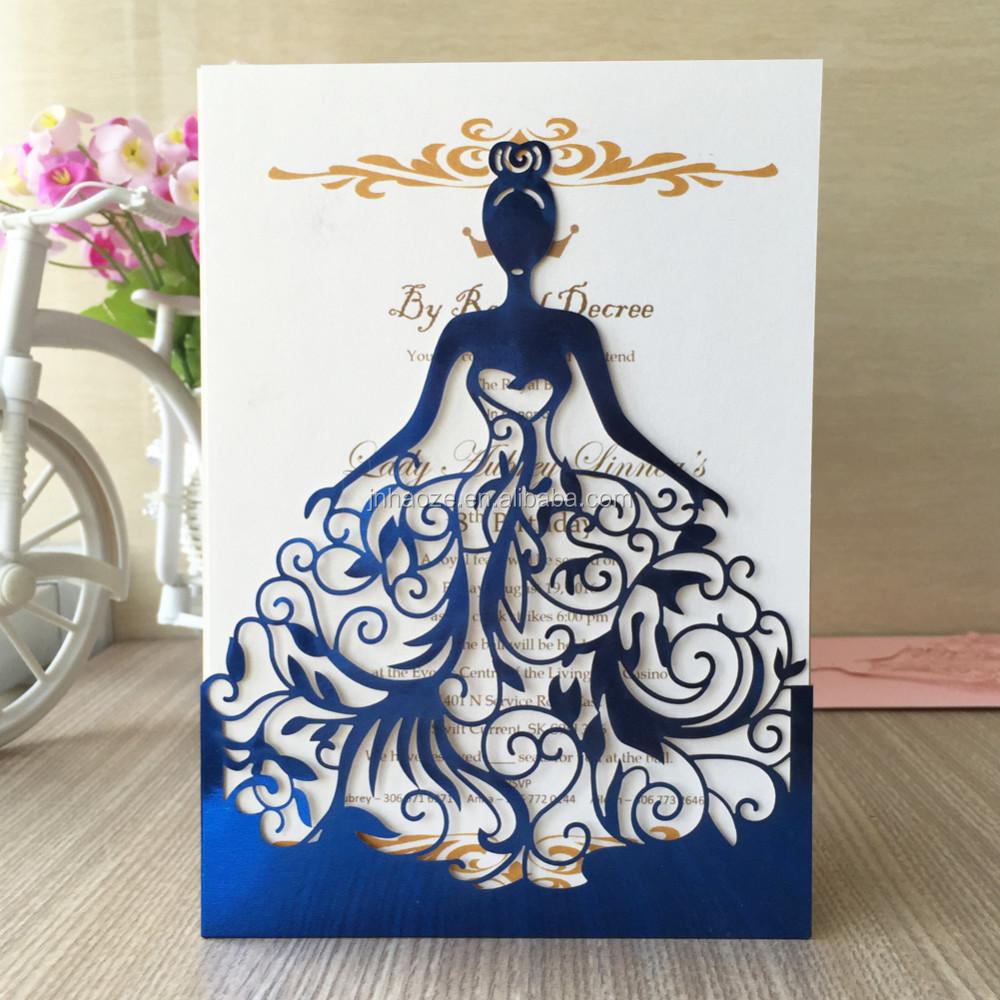 Hermoso Azul Metálico Bajo Precio De Corte Láser Fiesta De Baile Invitación Personalizada Hermosa Chica Speciatly Tarjeta De Felicitación Buy