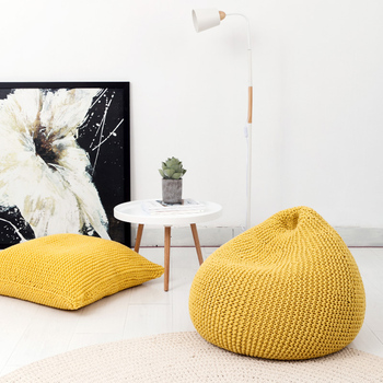 SZPLH Wholesale 100 Acrylic Knitted Bean Bag Chair Furniture Cover With Microbeads Filling