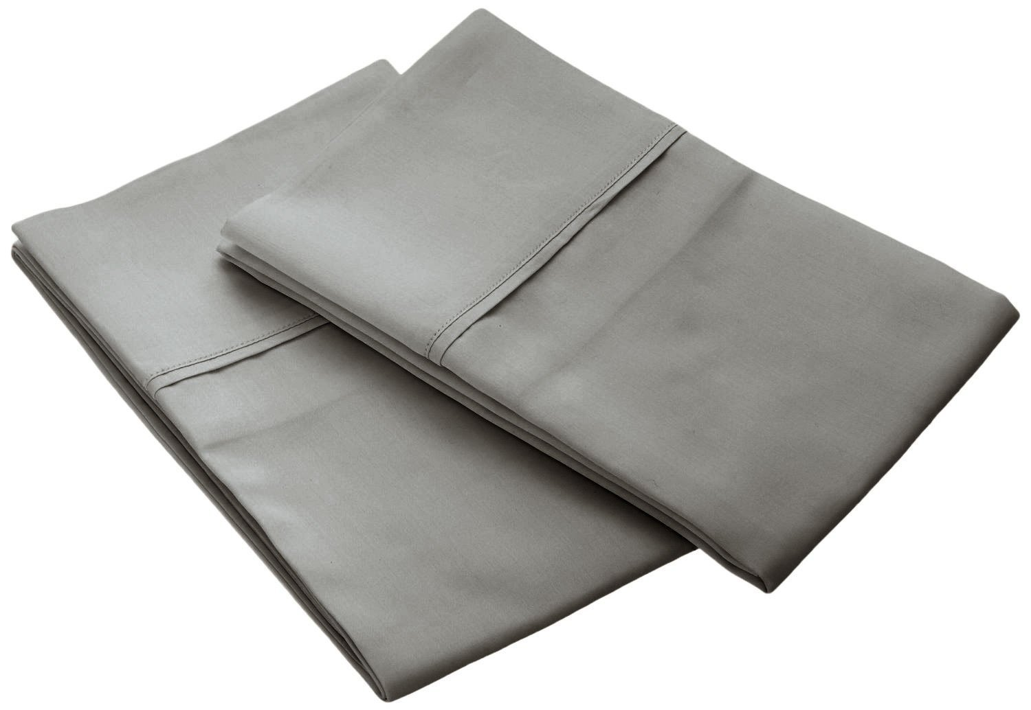 Bonne Nuit 400 Thread Count Bedding Solid Set of 2 Pillow Cases 100% Egyptian Cotton Sateen Wrinkle Resistant-Size PC Queen Solid Grey