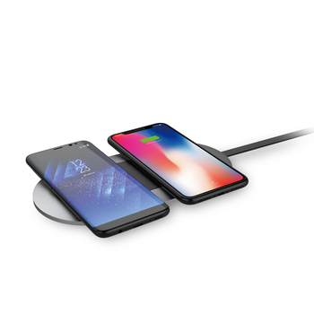 qi wireless charger pad, 20W slim dual coils wireless charging station, QI certified wireless charger pad