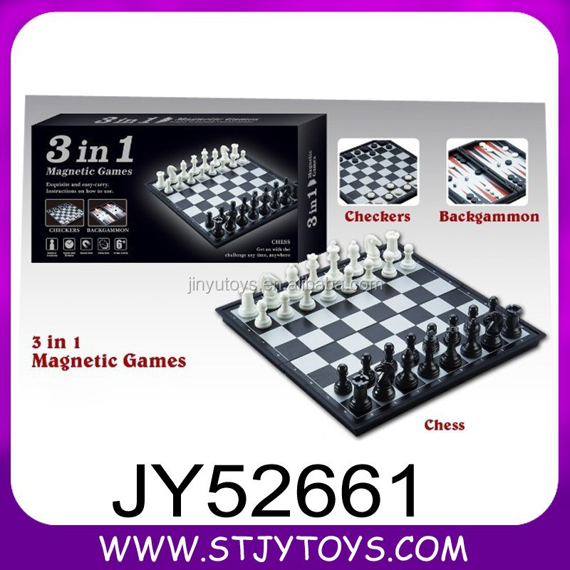 Intelligent 3 in 1 kids plastic folding magnetic board play chess game